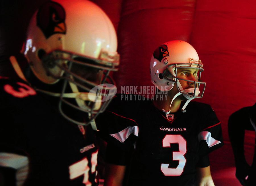 Sept. 2, 2010; Glendale, AZ, USA; Arizona Cardinals quarterback Derek Anderson (3) prior to the game against the Washington Redskins at University of Phoenix Stadium. Mandatory Credit: Mark J. Rebilas-