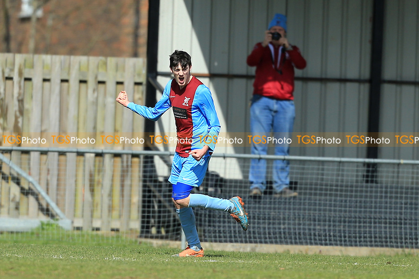 Ashley Nadesan of Horley Town celebrates scoring the opener during Horley Town vs Redhill, Combined Counties League Premier Division Football at The New Defence on 28th March 2016
