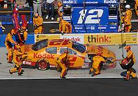 Apr 29, 2007; Talladega, AL, USA; Nascar Nextel Cup Series driver Ryan Newman (12) pits to repair damage after crashing during the Aarons 499 at Talladega Superspeedway. Mandatory Credit: Mark J. Rebilas