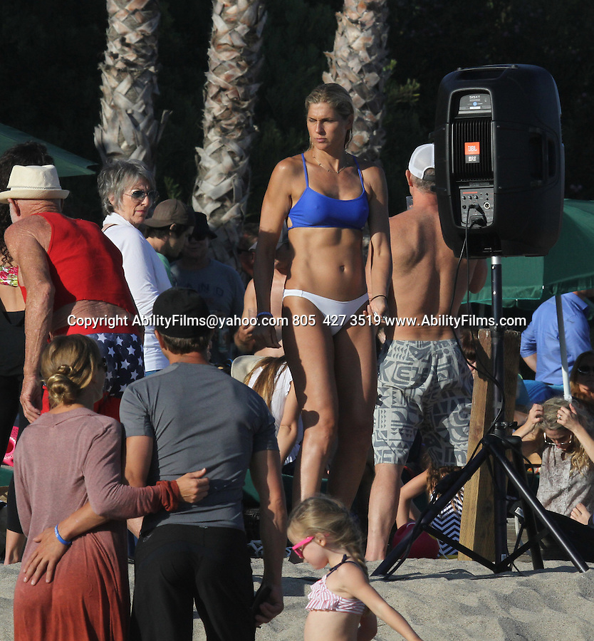 July 4th 2014  Exclusive <br /> <br /> <br /> Laird Hamilton , Gabrielle Reece celebration the holiday at a beach house in Malibu California . shirtless wearing Red white blue American flag shorts swim suit &amp; matching bandana.  Gabriel was wearing a bikini. <br /> <br /> <br /> AbilityFilms@yahoo.com<br /> 805  427 3519<br /> www.AbilityFilms.com