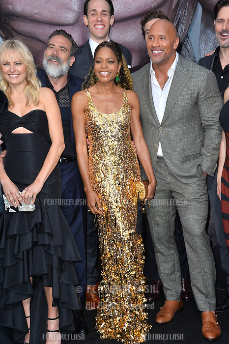 Malin Akerman, Jeffrey Dean Morgan, Naomie Harris, Jason Liles &amp; Dwayne Johnson at the premiere for &quot;Rampage&quot; at the Microsoft Theatre, Los Angeles, USA 04 April 2018<br /> Picture: Paul Smith/Featureflash/SilverHub 0208 004 5359 sales@silverhubmedia.com