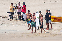 Coolangatta, Queensland (Monday, February 18, 2019) Mick Fanning (AUS) on the beach at D-Bah with Joel Parkinson (AUS), photgrapher Corey Wilson (USA), Seth Moniz (HAW) and Jack Freestone (AUS). - Cyclone Oma is pushing a South East swell into the Gold Coast with waves on the points and D-Bah. Mid tide D-Bah was the spot this morning with a an A-Frame peak at the Lovers end providing plenty of action. Mick Fanning (AUS), Joel Parkinson  (AUS), Seth Moniz (HAW) and Jack Freestone (AUS) were the standouts. Photo: joliphotos.com