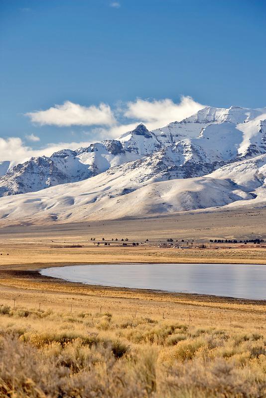 Frozen Mann Lake with Steens Mountain. Oregon