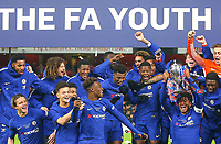 The Chelsea U18 Youth team celebrate winning the Trophy during the FA Youth Cup FINAL 2nd leg match between Arsenal and Chelsea at the Emirates Stadium, London, England on 30 April 2018. Photo by PRiME Media Images.