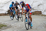 Thibaut Pinot (FRA) Groupama-FDJ, Tom Dumoulin (NED) Team Sunweb and Richard Carapaz (ECU) Movistar Team on the Colle delle Finestre during Stage 19 of the 2018 Giro d'Italia, running 185km from Venaria Reale to Bardonecchia featuring the Cima Coppi of this Giro, the highest climb on the Colle delle Finestre with its gravel roads, before finishing on the final climb of the Jafferau, Italy. 25th May 2018.<br /> Picture: LaPresse/POOL Luca Bettini/BettiniPhoto | Cyclefile<br /> <br /> <br /> All photos usage must carry mandatory copyright credit (&copy; Cyclefile | LaPresse/POOL Luca Bettini/BettiniPhoto)