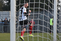 Padraig Amond of Grimsby Town celebrates their first goal during the FA Trophy Semi Final first leg match between Bognor Regis and Grimsby Town at Nyewood Lane, Bognor Regis, England on 12 March 2016. Photo by Paul Paxford/PRiME Media Images.