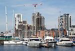 Tall crane at construction site of the 'Wine Rack' building, Regatta Quay, Wet Dock, Ipswich, Suffolk, England, UK