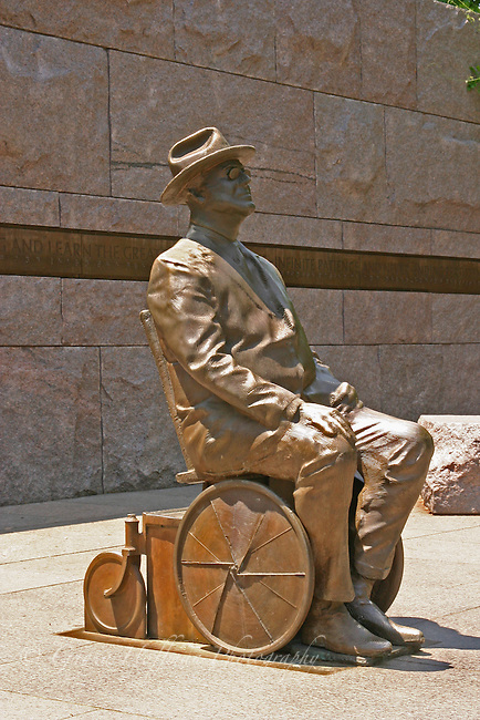 Statue of Franklin Delano Roosevelt in his wheelchair at the Roosevelt Memorial in Washington, D.C.