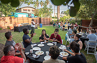MSI co-director Rhonda Brown, Vice President for Equity & Inclusion and Chief Diversity Officer<br /> Incoming first-years participating in MSI have dinner with Oxy faculty and staff in the ICC backyard, July 31, 2018.<br /> The Multicultural Summer Institute (MSI) is a four-week academic/residential program for approximately 50 incoming first-year students who represent a variety of ethnic, regional and cultural backgrounds. Through MSI, Occidental College introduces its student body to the social, cultural and intellectual resources of Southern California, and familiarizes students with the Oxy community and surrounding Los Angeles area.<br /> (Photo by Marc Campos, Occidental College Photographer)
