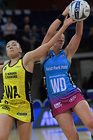 Wendy Frew (right) beats Whitney Souness to a pass during the ANZ Premiership netball match between the Central Pulse and Southern Steel at Te Rauparaha Arena in Wellington, New Zealand on Wednesday, 30 May 2018. Photo: Dave Lintott / lintottphoto.co.nz