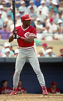 Cincinnati Reds Reggie Sanders (16) during Spring Training 1993 at Joker Marchant Stadium in Lakeland, Florida.  (MJA/Four Seam Images)