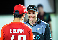New Zealand's Martin Guptill (left) chats with England's Pat Brown after the 4th Twenty20 International cricket match between NZ Black Caps and England at McLean Park in Napier, New Zealand on Friday, 8 November 2019. Photo: Dave Lintott / lintottphoto.co.nz
