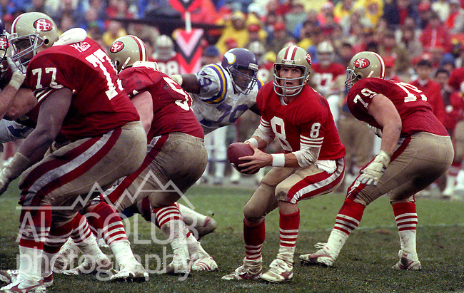 San Francisco 49ers vs  Minnesota Vikings  at Candlestick Park Saturday, January 9, 1988.. Vikings beat 49ers 36-24..San Francisco 49ers Quarterback Steve Young (8)..