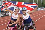 IPC European Athletics Championship 2014<br /> Hannah Cockroft (GBR) & Melissa Nicholls (GBR) celebrate gold and silver,<br /> Women's 800m T34<br /> Swansea University<br /> <br /> 21.08.14<br /> ©Steve Pope-SPORTINGWALES
