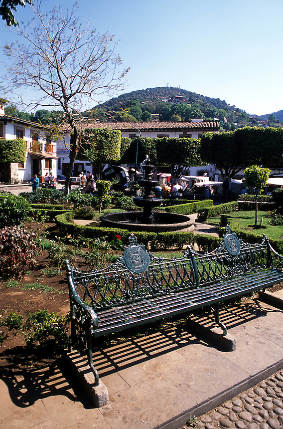 The main square in Valle de Bravo. With its beautiful lake, colonial buildings, cobbled streets,  and a 2 hour drive from Mexico City, is a favorite getaway for the capital's wealthy elite. 3-13-06