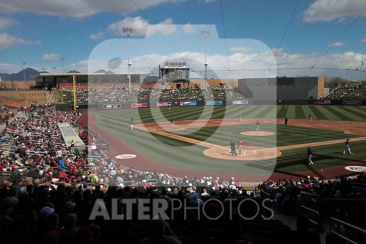 ,during   Colorado Rockies vs Arizona Diamondbacks, game of  Cactus league and Spring Trainig 2013..Salt River Fields stadium in Arizona. February 24, 2013