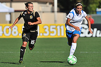 19 July 2009: Tiffeny Milbrett of the FC Gold Pride drives the ball upfield just ahead of Erika Sutton of the Boston Breakers during the game at Buck Shaw Stadium in Santa Clara, California.  The Boston Breakers defeated the FC Gold Pride, 1-0.