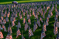 USA, Nebraska, Omaha, Tribute of Flags for memory of the victims of terrorist attack of 9/11, 11th September 2001 at world trade center New York City, ground zero