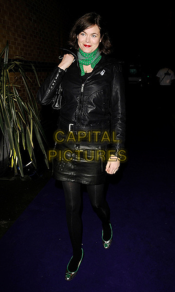 JASMINE GUINNESS .At the Aussie Day Party, Delfina Gallery, Bermondsey St. London, England, January 22nd 2009..full length green scarf black leather jacket skirt tights flats flat shoes .CAP/CAN.©Can Nguyen/Capital Pictures