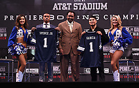 LOS ANGELES - FEBRUARY 16: (L-R) Errol Spence Jr., Tommy Hearns, and Mikey Garcia attend the Los Angeles press conference for the Spence vs Garcia March 16 Fox Sports PBC PPV fight on February 16, 2019 in Los Angeles, California. The March 16 fight will be at the AT&T Stadium in Dallas, Texas. (Photo by Frank Micelotta/Fox Sports/PictureGroup)
