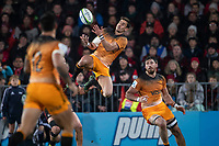 Jaguares' Joaquin Diaz Bonilla takes a high ball during the 2019 Super Rugby final between the Crusaders and Jaguares at Orangetheory Stadium in Christchurch, New Zealand on Saturday, 6 July 2019. Photo: Joe Johnson / lintottphoto.co.nz