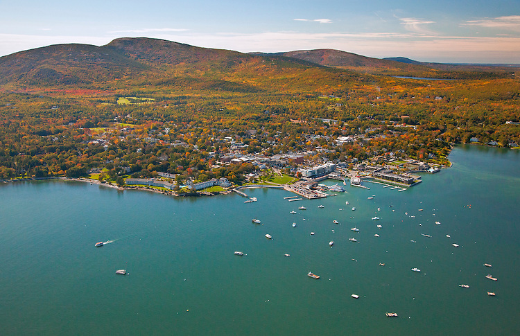 Aerial view of Bar Harbor, Mount Desert Island, and Acadia National Park in autumn from an airplane (Scenic Flights of Acadia), Maine, USA
