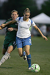 01 Aug 2009: Heather Mitts (2) of the Breakers shields the ball from Lori Chalupny (17) of Saint Louis Athletica.  Saint Louis Athletica defeated the visiting Boston Breakers 1-0 in a regular season Women's Professional Soccer game at Anheuser-Busch Soccer Park, in Fenton, MO.