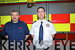 Fire officers at Tralee Fire Station are warning everyone to be careful this Christmas and follow safety tips to prevent domestic fires during the holiday season. .L-R Sub Station officer, John Fitzgerald and Senior Assistant Chief Fire Officer, Maurice O'Connell