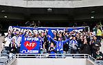 Stockholm 2015-04-25 Fotboll Allsvenskan Hammarby IF - &Aring;tvidabergs FF :  <br /> &Aring;tvidabergs supportrar under matchen mellan Hammarby IF och &Aring;tvidabergs FF <br /> (Foto: Kenta J&ouml;nsson) Nyckelord:  Fotboll Allsvenskan Tele2 Arena Hammarby HIF Bajen &Aring;tvidaberg &Aring;FF supporter fans publik supporters