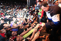Venezuelan President and presidential candidate Hugo Chavez during a rally with supporters in Caracas