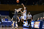03 December 2015: Duke's Rebecca Greenwell (right) passes the ball over Minnesota's Rachel Banham (1). The Duke University Blue Devils hosted the University of Minnesota Golden Gophers at Cameron Indoor Stadium in Durham, North Carolina in a 2015-16 NCAA Division I Women's Basketball game. Duke won the game 84-64.