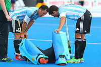 Argentine goalkeeper Juan Vivaldi is injured during the Hockey World League Semi-Final match between England and Argentina at the Olympic Park, London, England on 18 June 2017. Photo by Steve McCarthy.