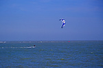 A1X0R4 Kite surfing in the North Sea off Shingle Street Suffolk England