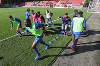 Maldon players warm up during Leyton Orient vs Maldon & Tiptree, Emirates FA Cup Football at The Breyer Group Stadium on 10th November 2019