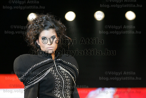 Model presents creations from Hungarian designer Renata Gyongyosi during the Budapest Fashion Week held in Budapest, Hungary on November 24, 2010. ATTILA VOLGYI