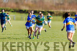 Kerry's Siofra O'Shea breaks the tackle from Tipperary's Alison Connolly in R1 of the MLGFA Minor A Football Championship in John Mitchels GAA Complex on Sunday