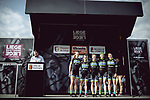 Team Tibco Silicon Valley Bank at sign on before the 2018 Liege-Bastogne-Liege Femmes running 136km from Bastogne to Ans, Belgium. 22nd April 2018.<br /> Picture: ASO/Thomas Maheux | Cyclefile<br /> All photos usage must carry mandatory copyright credit (&copy; Cyclefile | ASO/Thomas Maheux)