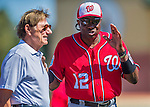 6 March 2016: Washington Nationals Manager Dusty Baker chats with American football legend and former NFL quarterback Joe Namath, prior to a Spring Training pre-season game against the St. Louis Cardinals at Roger Dean Stadium in Jupiter, Florida. The Nationals defeated the Cardinals 5-2 in Grapefruit League play. Mandatory Credit: Ed Wolfstein Photo *** RAW (NEF) Image File Available ***