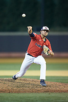 Liberty Flames relief pitcher Zach Clinton (6) delivers a pitch to the plate against the Wake Forest Demon Deacons at David F. Couch Ballpark on April 25, 2018 in  Winston-Salem, North Carolina.  The Demon Deacons defeated the Flames 8-7.  (Brian Westerholt/Four Seam Images)