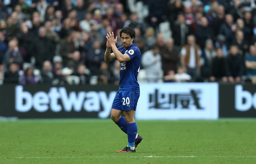 Leicester City's Shinji Okazaki applauds the Leicester fans<br /> <br /> Photographer Rob Newell/CameraSport<br /> <br /> The Premier LeagueWest Ham United v Leicester City - Saturday 18th March 2017 - London Stadium - London<br /> <br /> World Copyright &copy; 2017 CameraSport. All rights reserved. 43 Linden Ave. Countesthorpe. Leicester. England. LE8 5PG - Tel: +44 (0) 116 277 4147 - admin@camerasport.com - www.camerasport.com