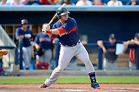 Boston Red Sox catcher Matt Spring #95 during a Grapefruit League Spring Training game against the Tampa Bay Rays at Charlotte County Sports Park on February 25, 2013 in Port Charlotte, Florida.  Tampa Bay defeated Boston 6-3.  (Mike Janes/Four Seam Images)