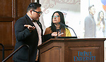 Mark Anthony Florido, assistant director, Identity Conscious Support Programs, left, and Eva Long, Asian Pacific Islander Desi American Cultural Center (APIDA) coordinator, introduce the second annual Grace Lee Boggs Heritage Breakfast hosted by the Office of Institutional Diversity and Equity, Thursday, May 9, 2019, in Cortelyou Commons. (DePaul University/Jeff Carrion)