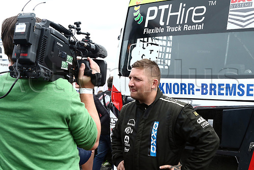 3rd September 2017, Most Racing Track, Most, Czech Republic; FIA European Truck Racing Championship; 3rd race, Ryan SMITH (GB/MAN/Oxxo Energy Racing), gives an interview before the race starts