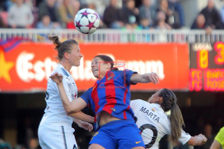 UEFA Women's Champions League 2016/2017.<br /> Quarter Finals.<br /> FC Barcelona vs FC Rosengard: 2-0.<br /> Emma Berglund, Vicky Losada &amp; Marta Vieira.
