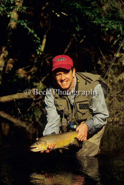 Jim Wood with a nice brown trout in PA.