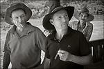 Vinales, Cuba:<br /> Tobacco farmers with cigars on a farm near Vinales