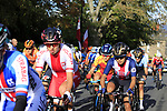 The peloton including Katarzyna Niewiadoma (POL) on the 2nd circuit of Harrogate during the Women Elite Road Race of the UCI World Championships 2019 running 149.4km from Bradford to Harrogate, England. 28th September 2019.<br /> Picture: Andy Brady | Cyclefile<br /> <br /> All photos usage must carry mandatory copyright credit (© Cyclefile | Andy Brady)