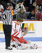 Jeff Bunyon, Grant Rollheiser (BU - 35) - The Boston University Terriers defeated the Merrimack College Warriors 6-4 (EN) on Saturday, January 16, 2010, at Agganis Arena in Boston, Massachusetts.