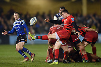 Ben Spencer of Saracens box-kicks the ball. Gallagher Premiership match, between Bath Rugby and Saracens on March 8, 2019 at the Recreation Ground in Bath, England. Photo by: Patrick Khachfe / Onside Images