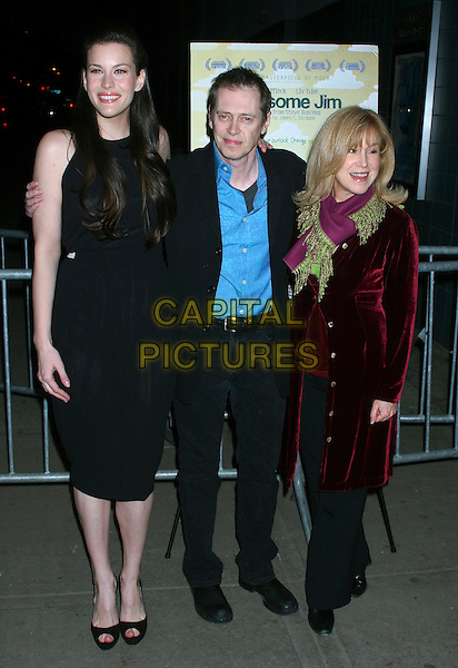 "LIV TYLER, STEVE BUSCEMI & MARY KAY PLACE.""Lonesome Jim"" New York Screening at Clearview Chelsea West, New York City, NY, USA..March 21st, 2006.Ref: IW.full length black dress suit purple scarf coat.www.capitalpictures.com.sales@capitalpictures.com.©Capital Pictures"